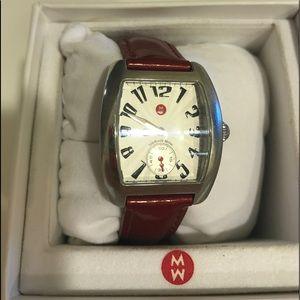 NIB Michele Watch Mini Urban Red Patent Band